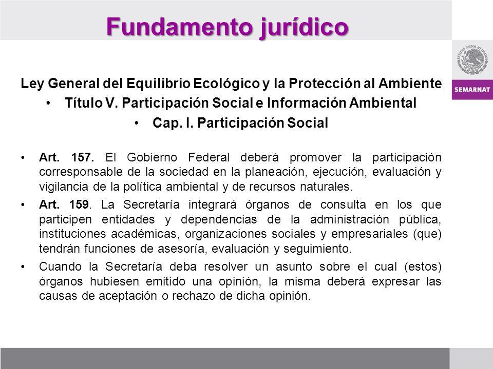 Fundamento jurídico Ley General del Equilibrio Ecológico y la Protección al Ambiente Título V. Participación Social e Información Ambiental Cap. I. Pa