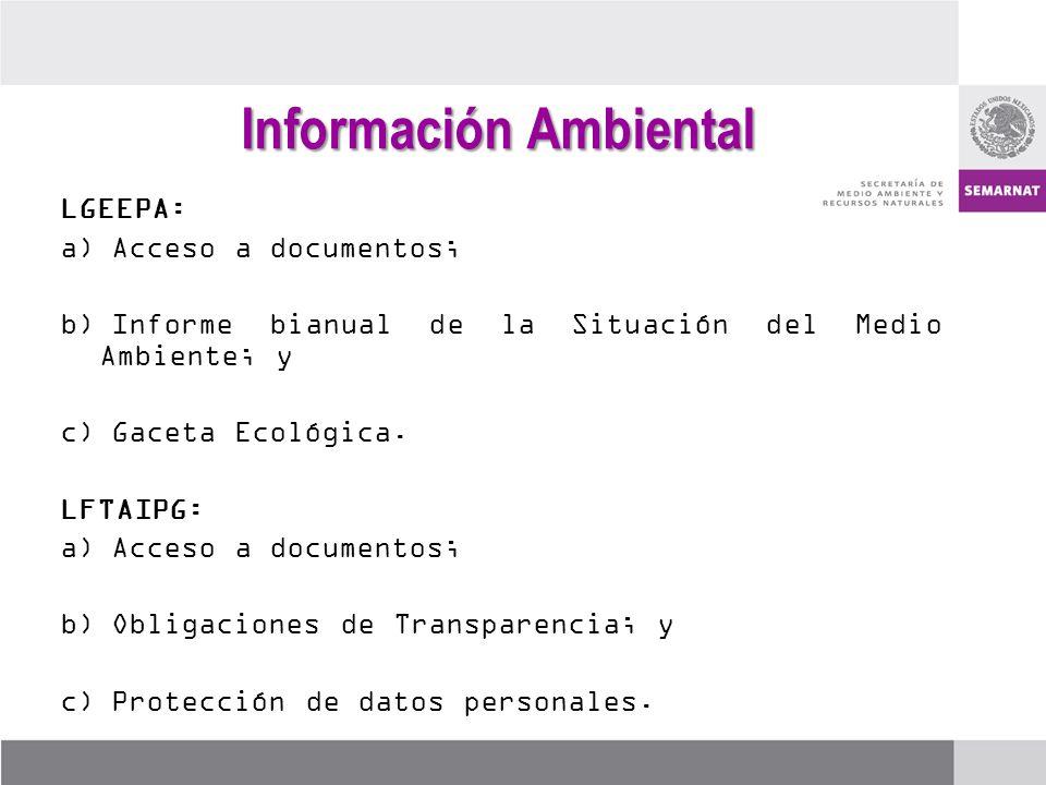 LGEEPA: a)Acceso a documentos; b)Informe bianual de la Situación del Medio Ambiente; y c)Gaceta Ecológica. LFTAIPG: a)Acceso a documentos; b)Obligacio
