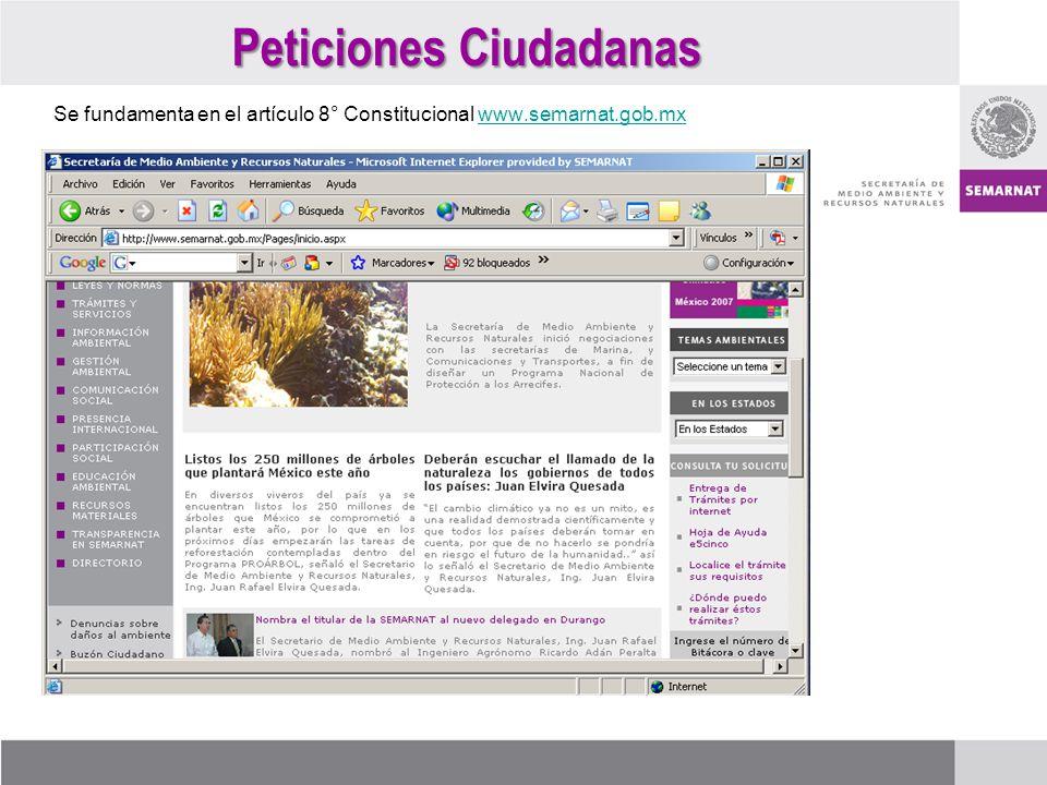 Se fundamenta en el artículo 8° Constitucional www.semarnat.gob.mxwww.semarnat.gob.mx Peticiones Ciudadanas
