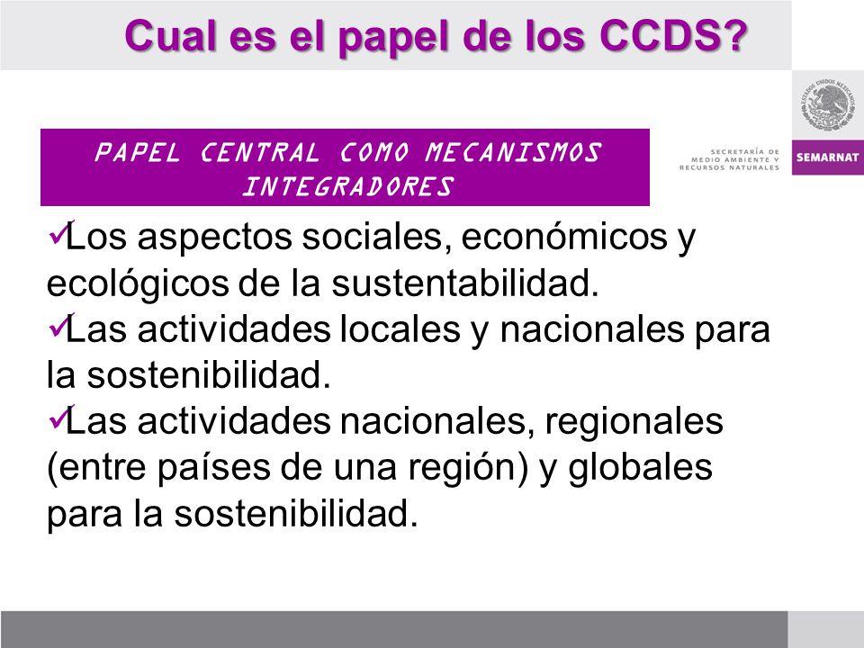 Cual es el papel de los CCDS? PAPEL CENTRAL COMO MECANISMOS INTEGRADORES Los aspectos sociales, económicos y ecológicos de la sustentabilidad. Las act