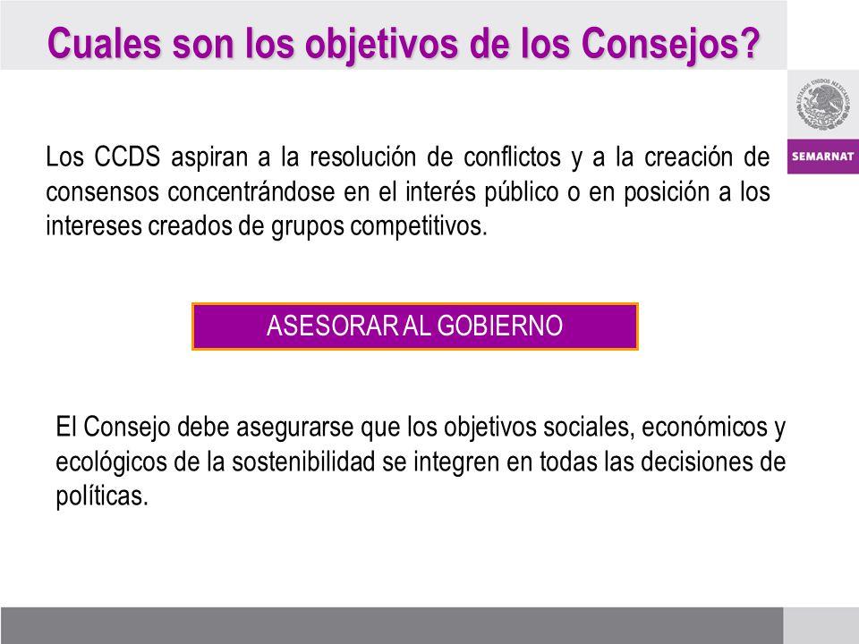 Cuales son los objetivos de los Consejos? Los CCDS aspiran a la resolución de conflictos y a la creación de consensos concentrándose en el interés púb