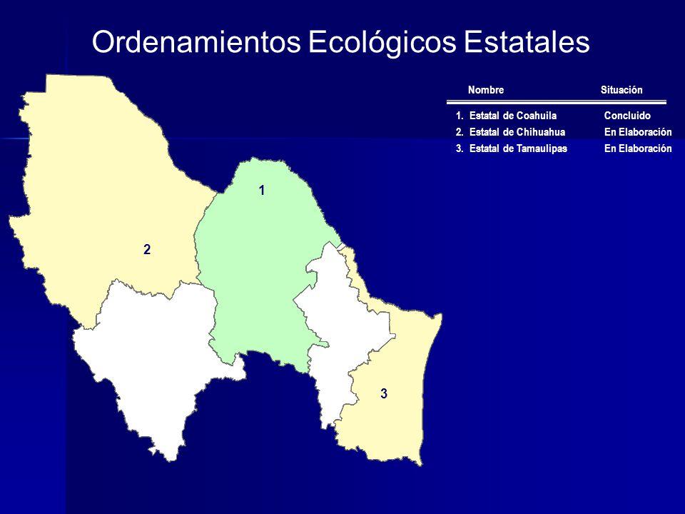 Ordenamientos Ecológicos Estatales 1.Estatal de CoahuilaConcluido 2.Estatal de ChihuahuaEn Elaboración 3.Estatal de TamaulipasEn Elaboración Nombre Situación 2 1 3