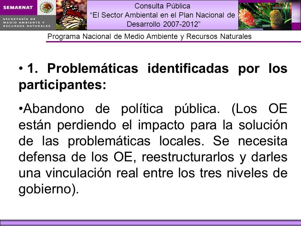 Consulta Pública El Sector Ambiental en el Plan Nacional de Desarrollo 2007-2012 Programa Nacional de Medio Ambiente y Recursos Naturales 1.