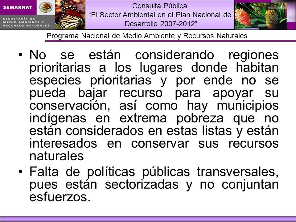 Consulta Pública El Sector Ambiental en el Plan Nacional de Desarrollo 2007-2012 Programa Nacional de Medio Ambiente y Recursos Naturales 2.