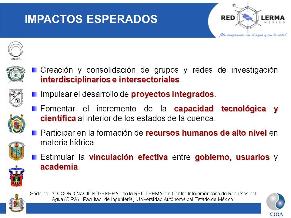 IMPACTOS ESPERADOS interdisciplinarios e intersectoriales Creación y consolidación de grupos y redes de investigación interdisciplinarios e intersecto
