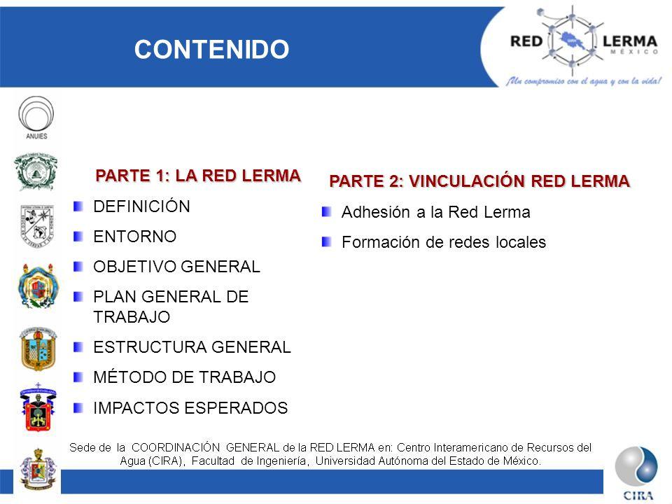 CONTENIDO PARTE 1: LA RED LERMA DEFINICIÓN ENTORNO OBJETIVO GENERAL PLAN GENERAL DE TRABAJO ESTRUCTURA GENERAL MÉTODO DE TRABAJO IMPACTOS ESPERADOS PA