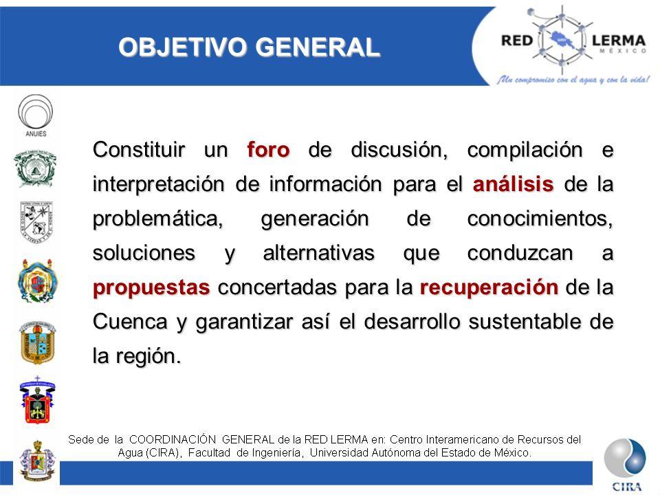 OBJETIVO GENERAL Constituir un foro de discusión, compilación e interpretación de información para el análisis de la problemática, generación de conoc