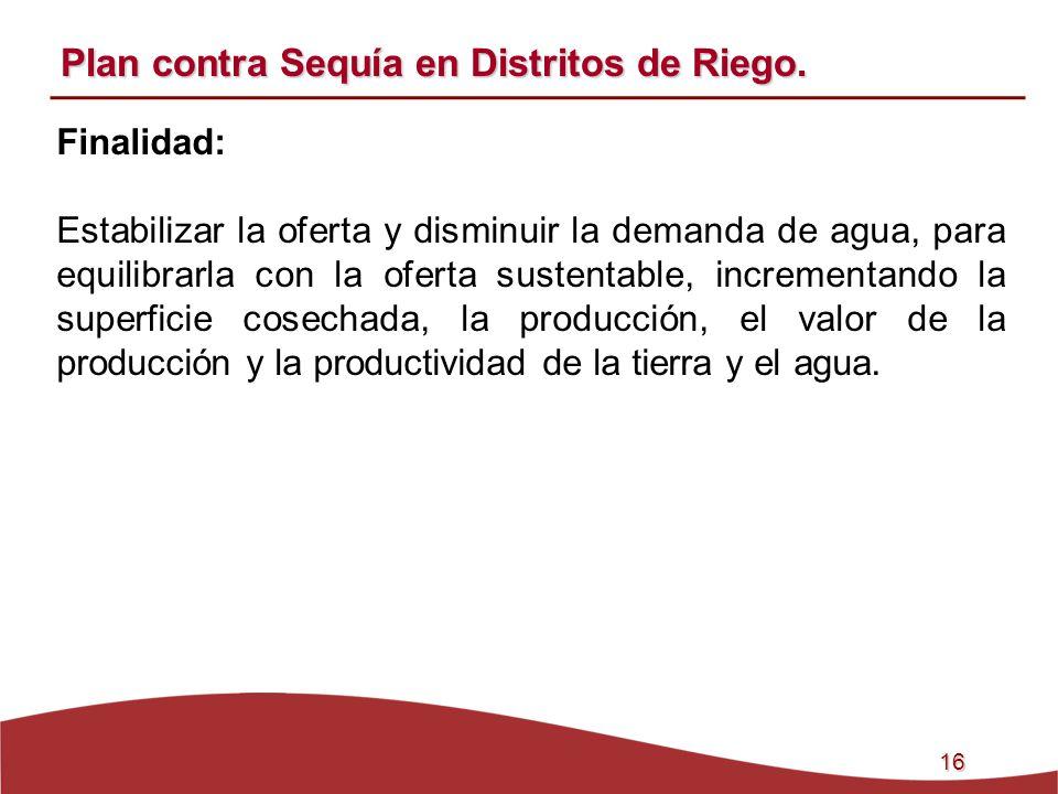 16 Plan contra Sequía en Distritos de Riego. Finalidad: Estabilizar la oferta y disminuir la demanda de agua, para equilibrarla con la oferta sustenta