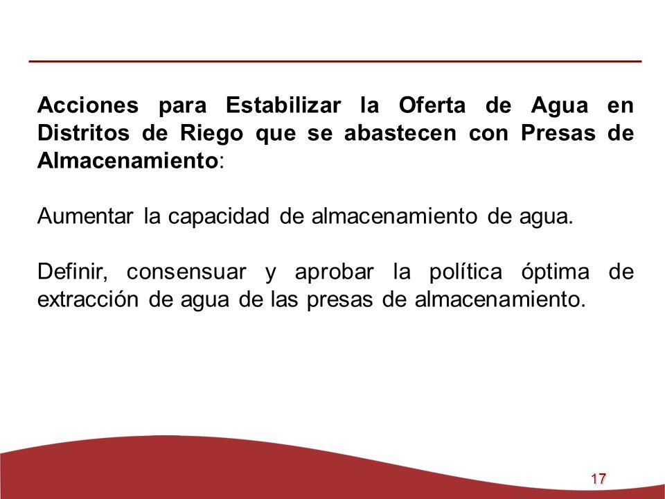 17 Acciones para Estabilizar la Oferta de Agua en Distritos de Riego que se abastecen con Presas de Almacenamiento: Aumentar la capacidad de almacenam