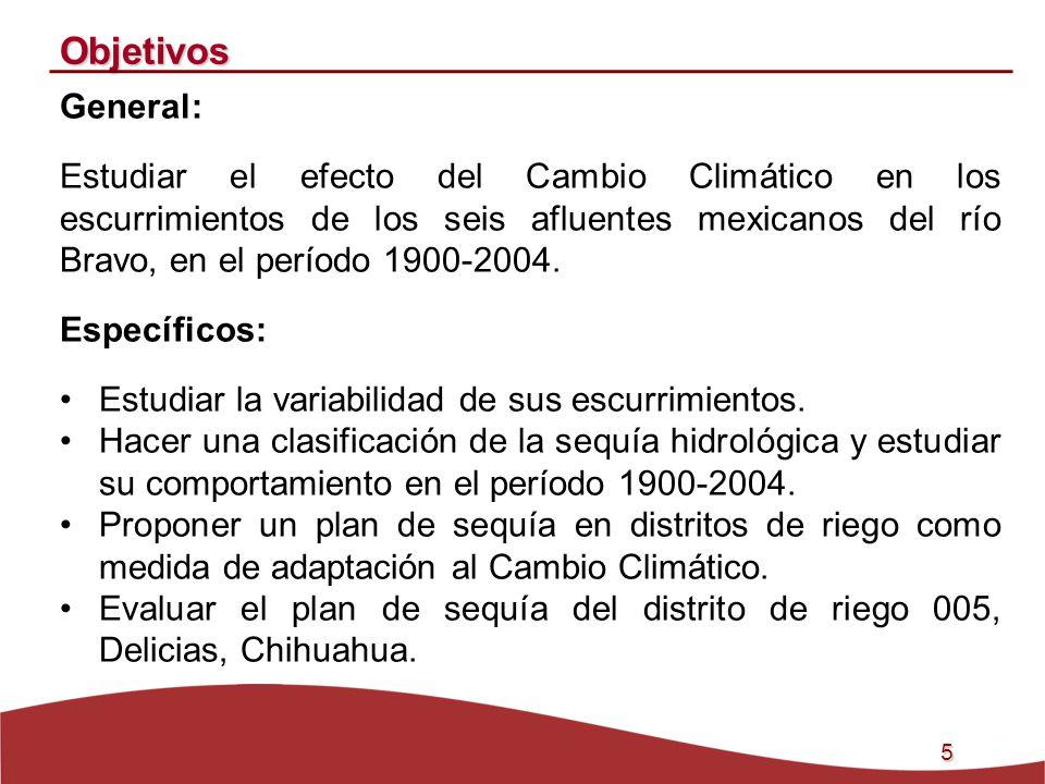 5 Objetivos General: Estudiar el efecto del Cambio Climático en los escurrimientos de los seis afluentes mexicanos del río Bravo, en el período 1900-2