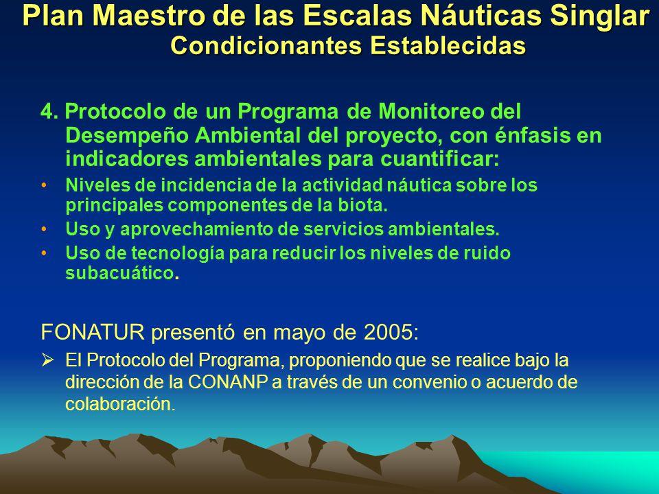 Plan Maestro de las Escalas Náuticas Singlar Condicionantes Establecidas 4. Protocolo de un Programa de Monitoreo del Desempeño Ambiental del proyecto