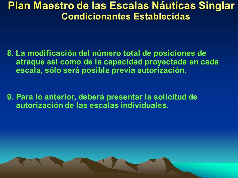 Plan Maestro de las Escalas Náuticas Singlar Condicionantes Establecidas 8. La modificación del número total de posiciones de atraque así como de la c