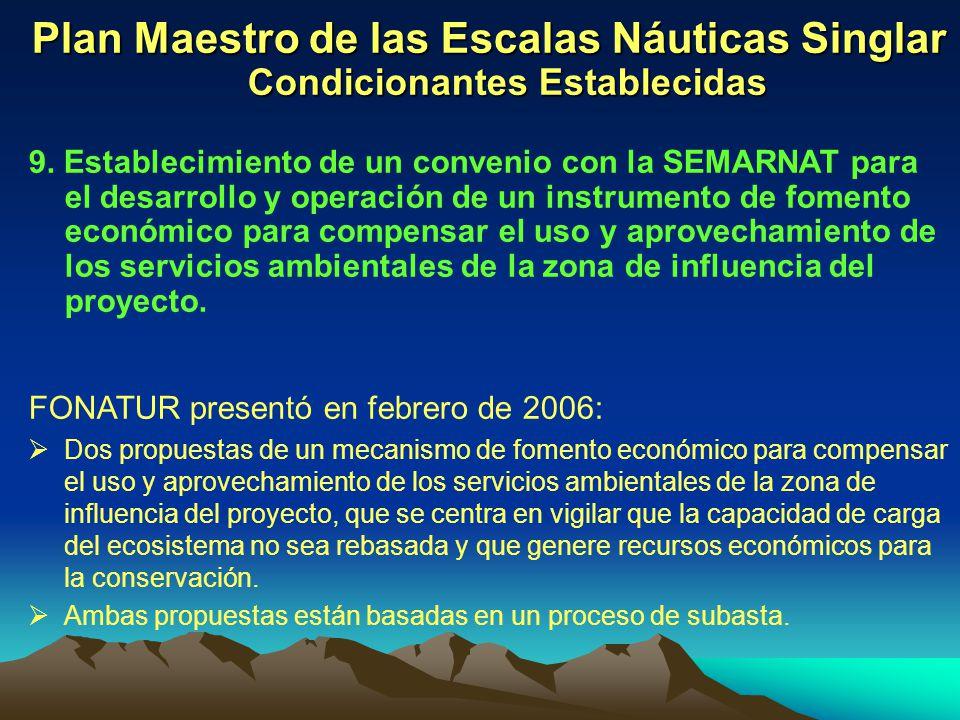Plan Maestro de las Escalas Náuticas Singlar Condicionantes Establecidas 9. Establecimiento de un convenio con la SEMARNAT para el desarrollo y operac