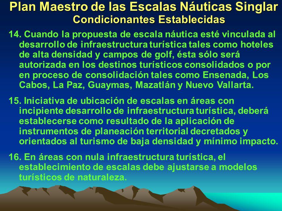 Plan Maestro de las Escalas Náuticas Singlar Condicionantes Establecidas 14. Cuando la propuesta de escala náutica esté vinculada al desarrollo de inf