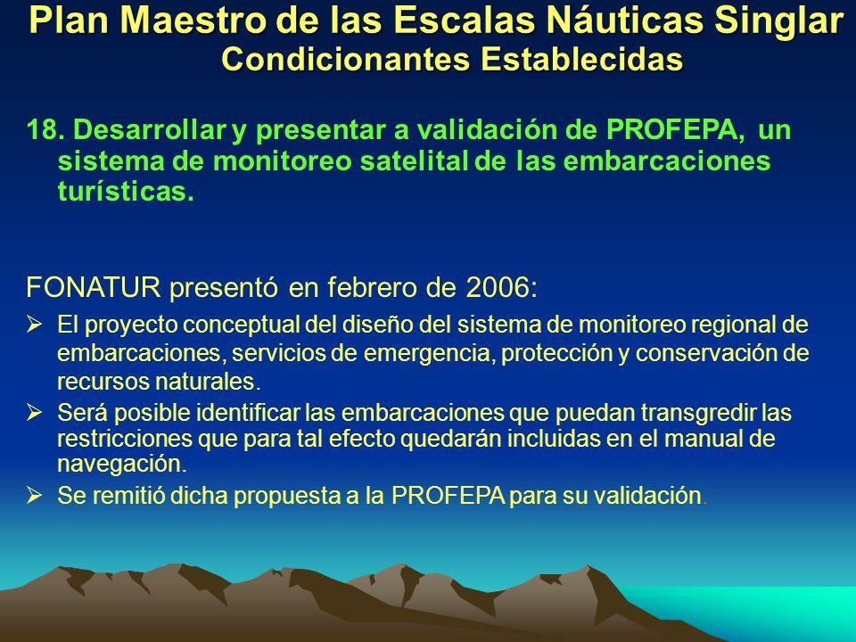 Plan Maestro de las Escalas Náuticas Singlar Condicionantes Establecidas 18. Desarrollar y presentar a validación de PROFEPA, un sistema de monitoreo