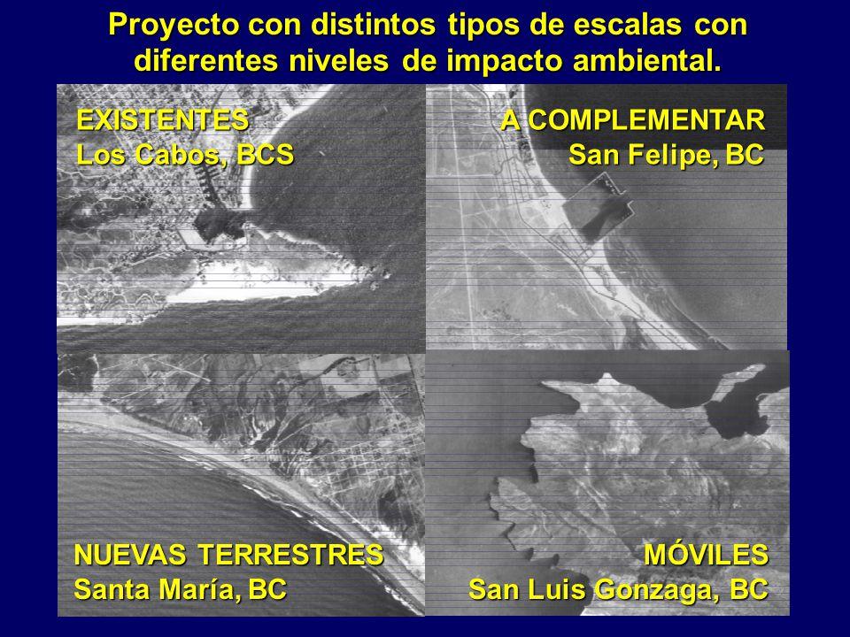 Proyecto con distintos tipos de escalas con diferentes niveles de impacto ambiental. A COMPLEMENTAR San Felipe, BC NUEVAS TERRESTRES Santa María, BC E