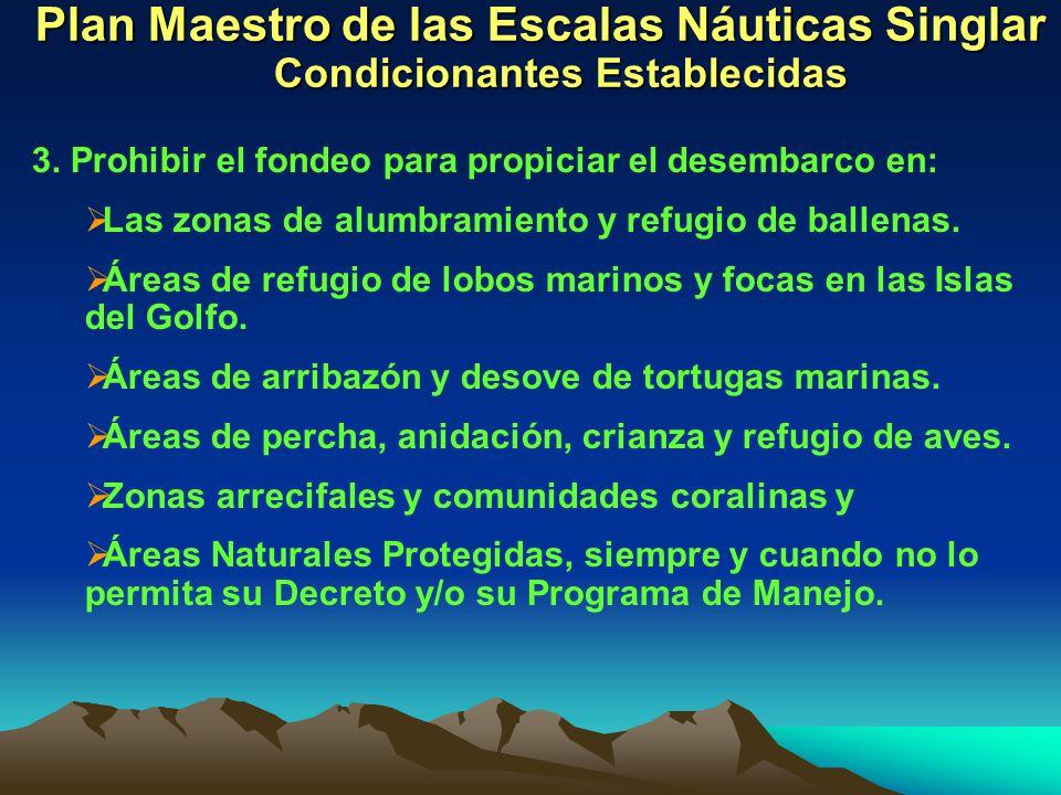 Plan Maestro de las Escalas Náuticas Singlar Condicionantes Establecidas 3. Prohibir el fondeo para propiciar el desembarco en: Las zonas de alumbrami