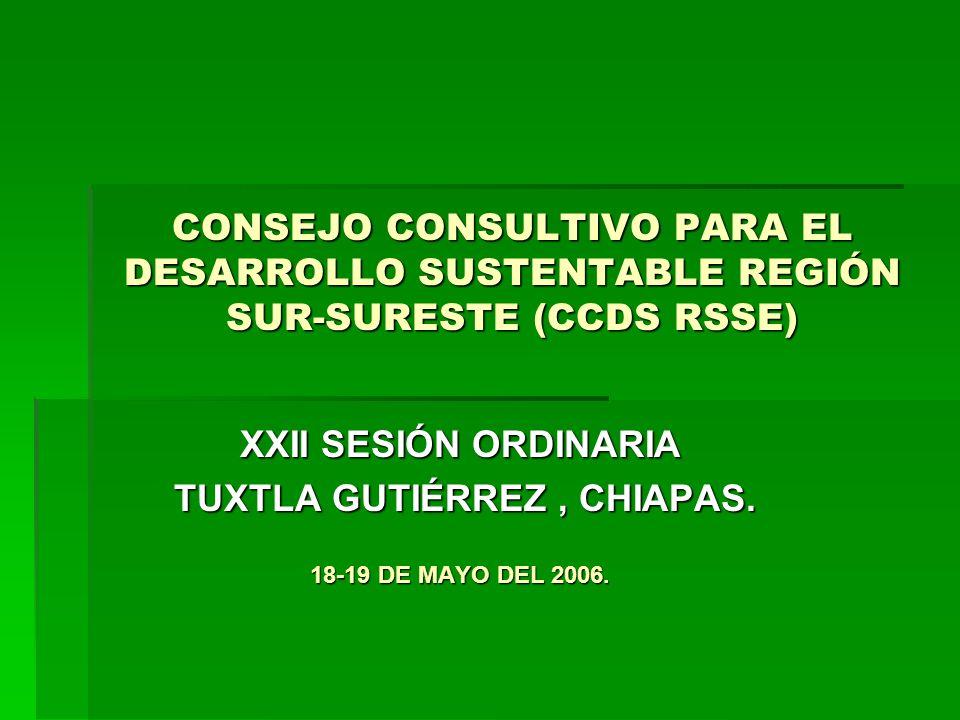 CONSEJO CONSULTIVO PARA EL DESARROLLO SUSTENTABLE REGIÓN SUR-SURESTE (CCDS RSSE) XXII SESIÓN ORDINARIA TUXTLA GUTIÉRREZ, CHIAPAS.