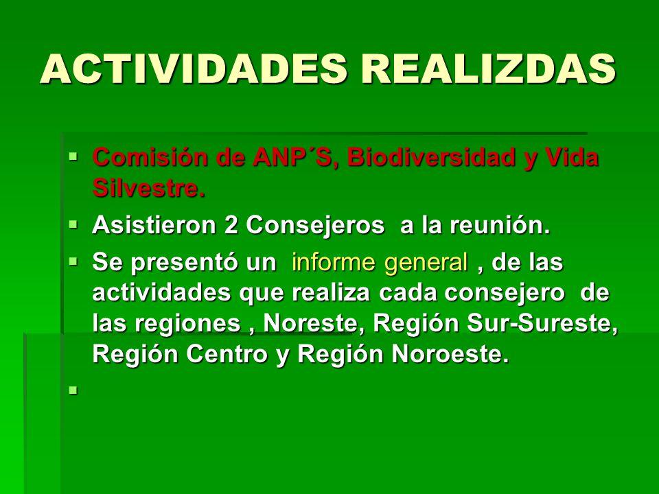 ACTIVIDADES REALIZDAS Comisión de ANP´S, Biodiversidad y Vida Silvestre.