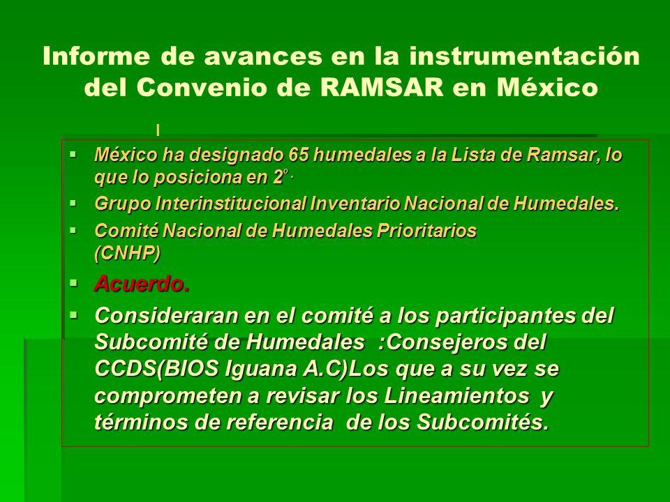 Informe de avances en la instrumentación del Convenio de RAMSAR en México México ha designado 65 humedales a la Lista de Ramsar, lo que lo posiciona en 2 º.
