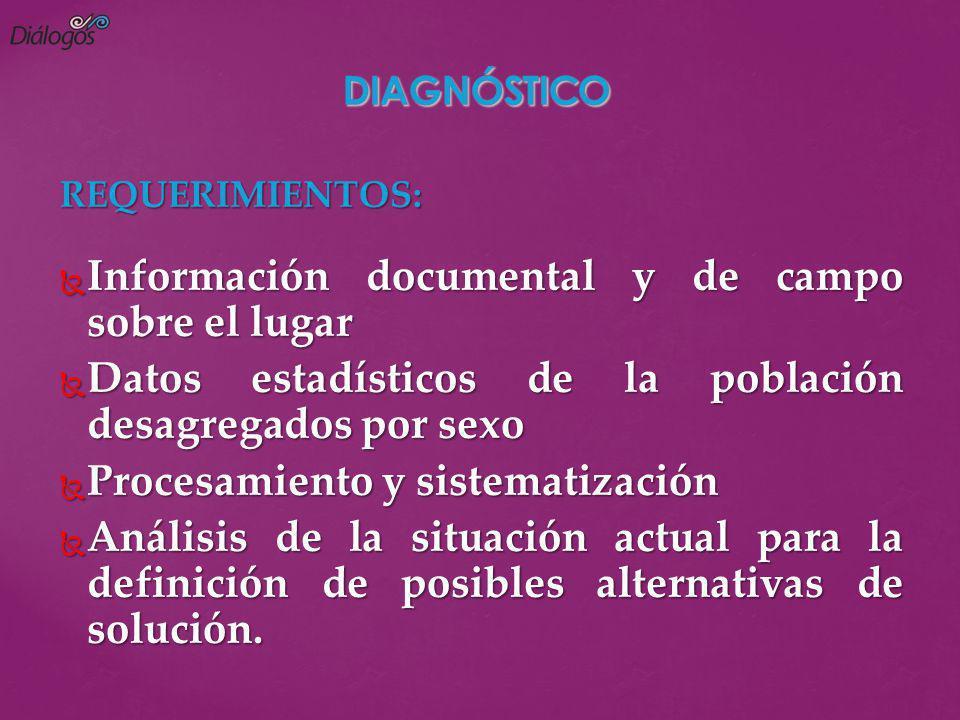 REQUERIMIENTOS: Información documental y de campo sobre el lugar Información documental y de campo sobre el lugar Datos estadísticos de la población d