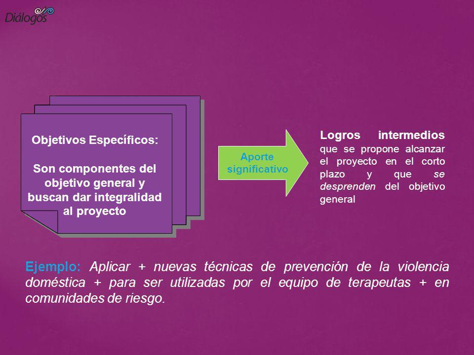 Logros intermedios que se propone alcanzar el proyecto en el corto plazo y que se desprenden del objetivo general Objetivos Específicos: Son component
