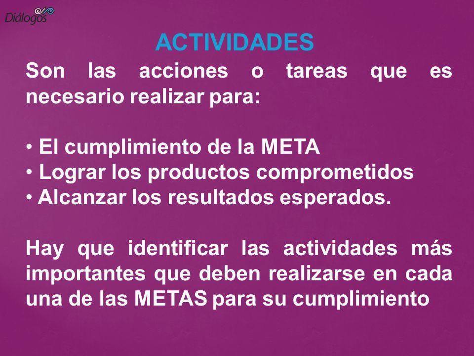 Son las acciones o tareas que es necesario realizar para: El cumplimiento de la META Lograr los productos comprometidos Alcanzar los resultados espera