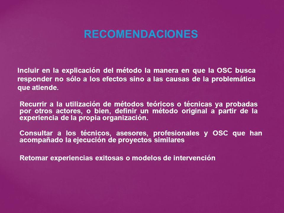 Incluir en la explicación del método la manera en que la OSC busca responder no sólo a los efectos sino a las causas de la problemática que atiende. R