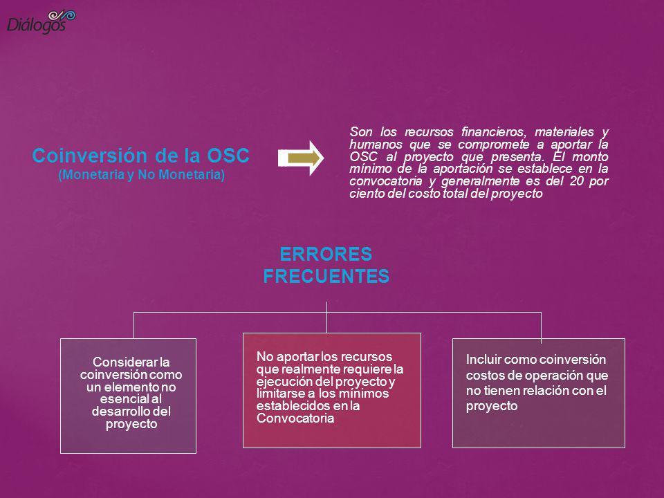 Coinversión de la OSC (Monetaria y No Monetaria) Son los recursos financieros, materiales y humanos que se compromete a aportar la OSC al proyecto que