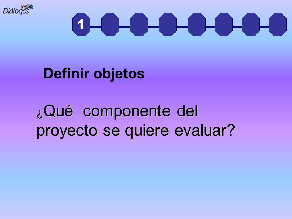 1 ¿ Qué componente del proyecto se quiere evaluar? Definir objetos