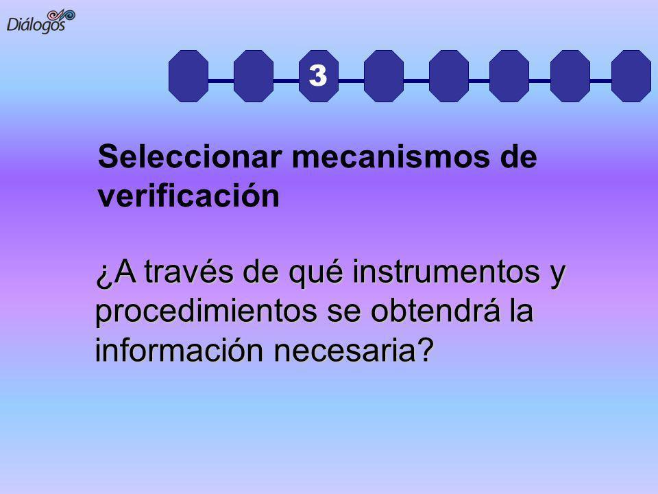 3 ¿A través de qué instrumentos y procedimientos se obtendrá la información necesaria? Seleccionar mecanismos de verificación