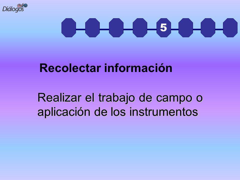5 Realizar el trabajo de campo o aplicación de los instrumentos Recolectar información