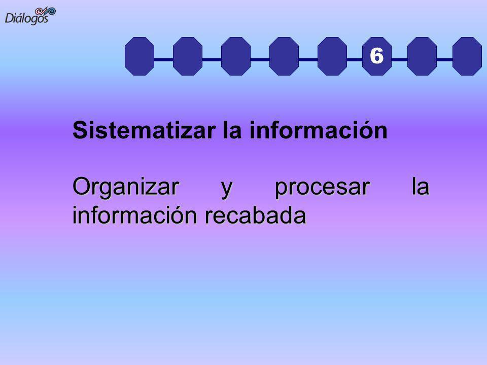 6 Organizar y procesar la información recabada Sistematizar la información