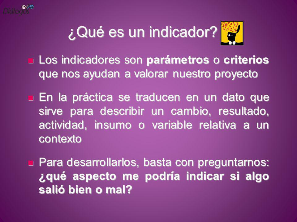 ¿Qué es un indicador? Los indicadores son parámetros o criterios que nos ayudan a valorar nuestro proyecto Los indicadores son parámetros o criterios