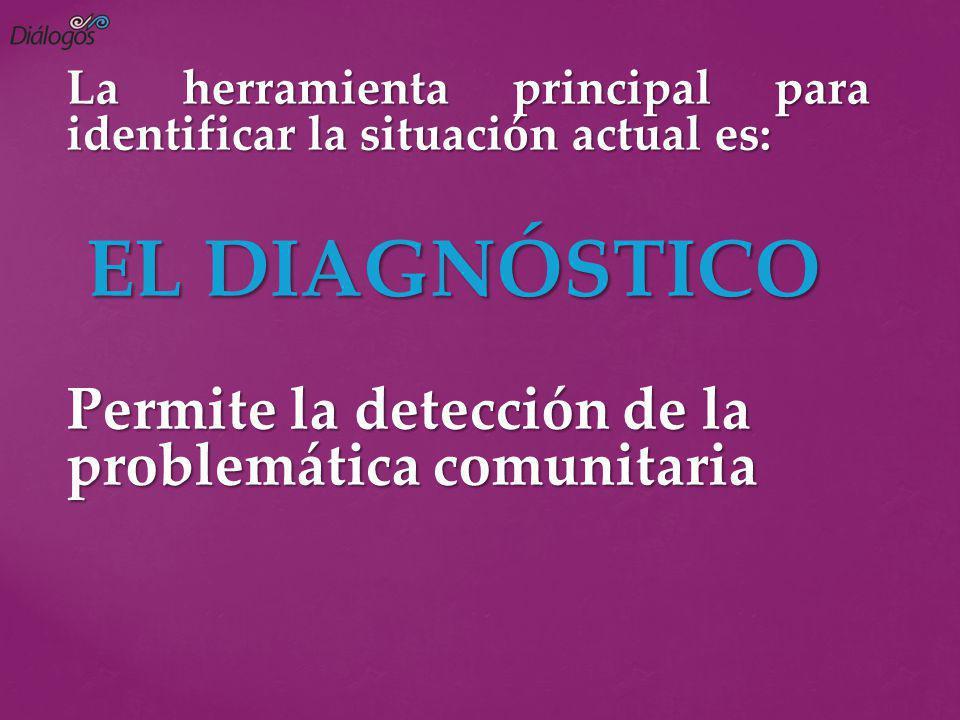 La herramienta principal para identificar la situación actual es: EL DIAGNÓSTICO EL DIAGNÓSTICO Permite la detección de la problemática comunitaria