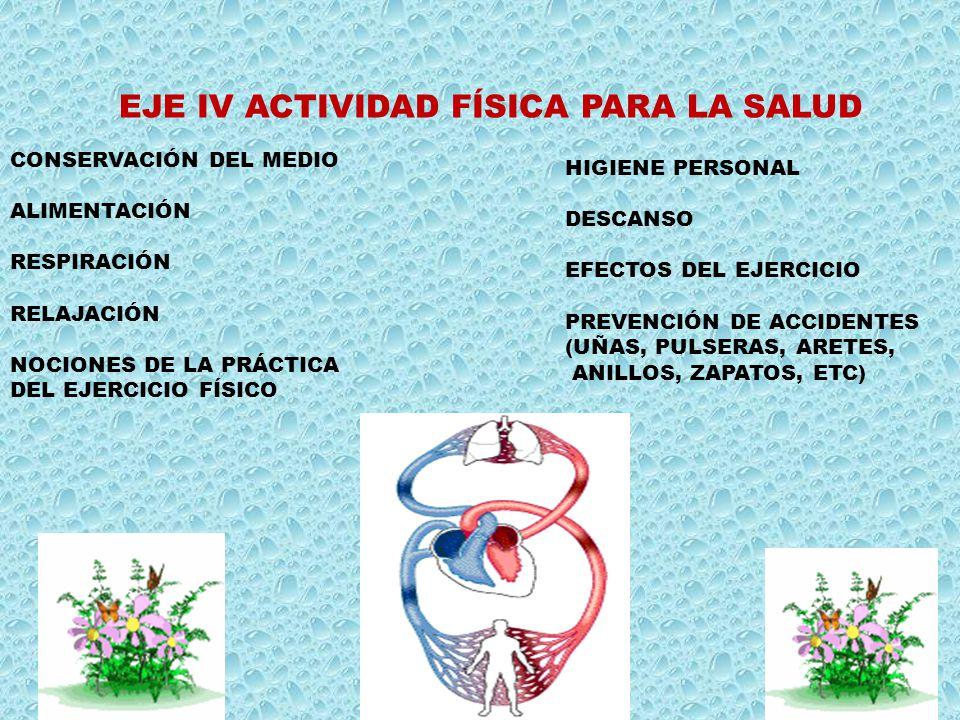 EJE IV ACTIVIDAD FÍSICA PARA LA SALUD HIGIENE PERSONAL DESCANSO EFECTOS DEL EJERCICIO PREVENCIÓN DE ACCIDENTES (UÑAS, PULSERAS, ARETES, ANILLOS, ZAPAT