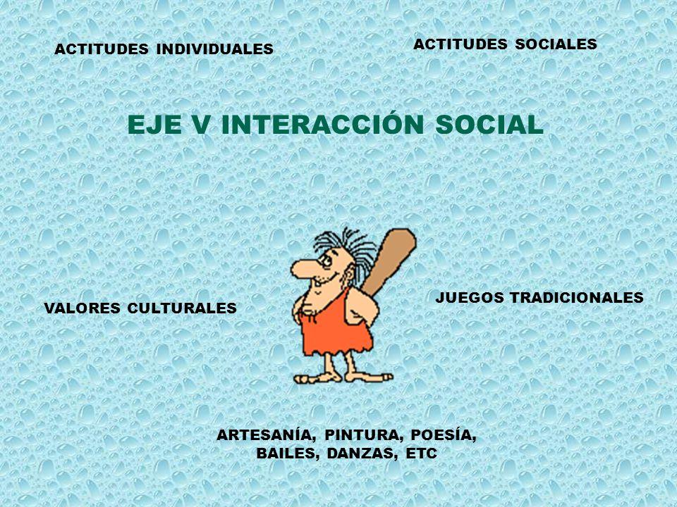 EJE V INTERACCIÓN SOCIAL ACTITUDES INDIVIDUALES ACTITUDES SOCIALES VALORES CULTURALES JUEGOS TRADICIONALES ARTESANÍA, PINTURA, POESÍA, BAILES, DANZAS,