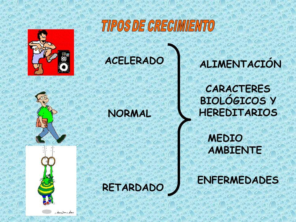 ACELERADO NORMAL RETARDADO ALIMENTACIÓN CARACTERES BIOLÓGICOS Y HEREDITARIOS MEDIO AMBIENTE ENFERMEDADES