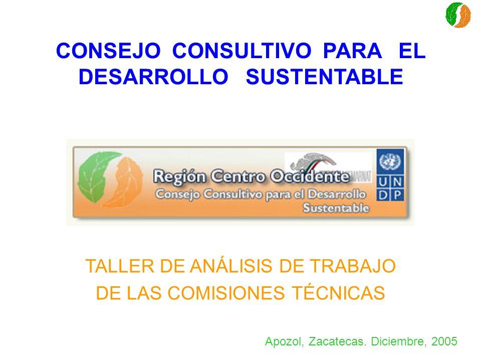 CONSEJO CONSULTIVO PARA EL DESARROLLO SUSTENTABLE TALLER DE ANÁLISIS DE TRABAJO DE LAS COMISIONES TÉCNICAS Apozol, Zacatecas. Diciembre, 2005