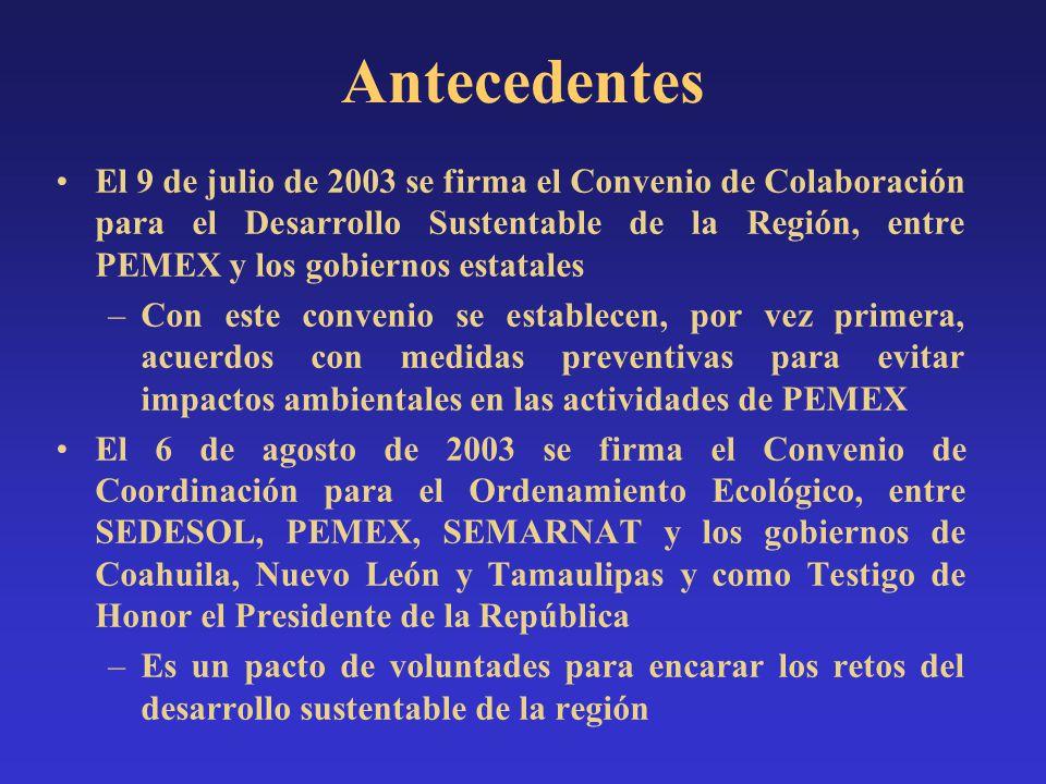 El 9 de julio de 2003 se firma el Convenio de Colaboración para el Desarrollo Sustentable de la Región, entre PEMEX y los gobiernos estatales –Con est