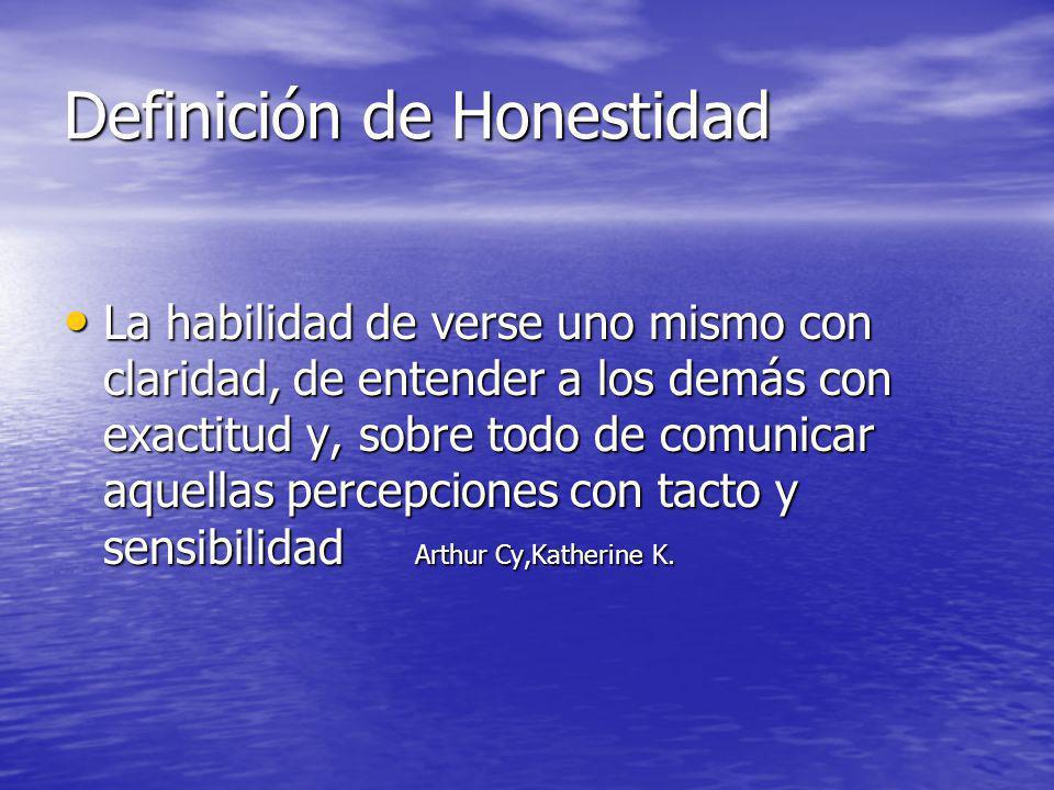 Definición de Honestidad La habilidad de verse uno mismo con claridad, de entender a los demás con exactitud y, sobre todo de comunicar aquellas perce