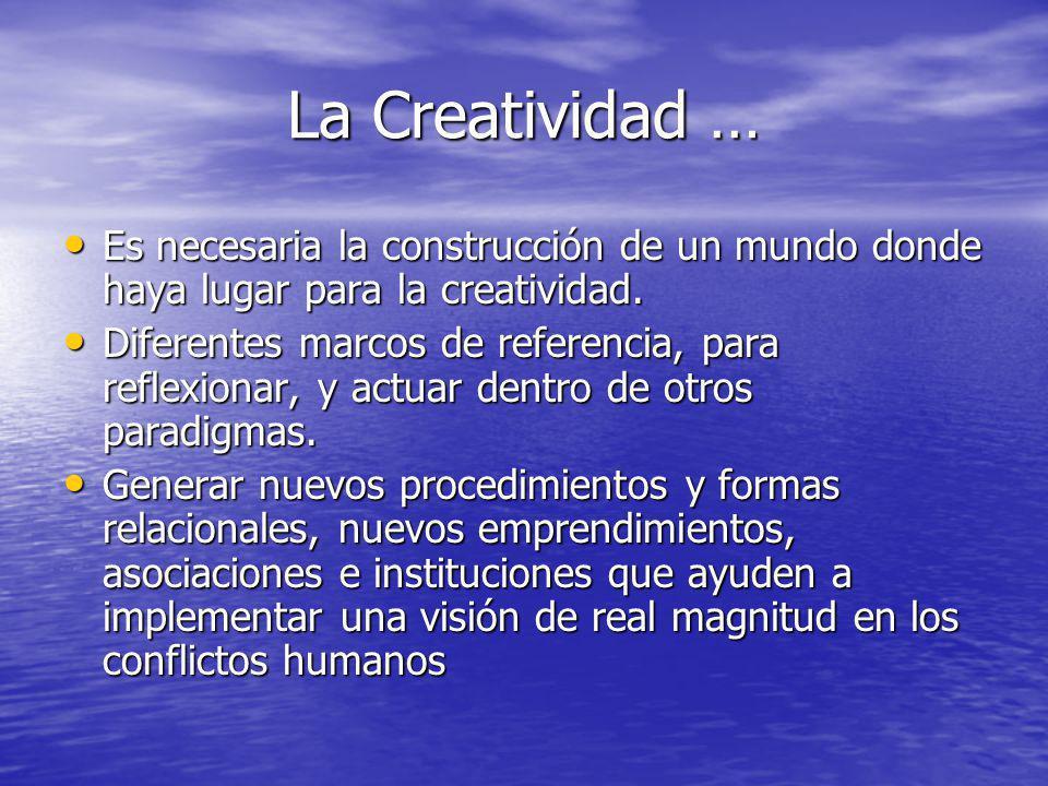 La Creatividad … Es necesaria la construcción de un mundo donde haya lugar para la creatividad. Es necesaria la construcción de un mundo donde haya lu