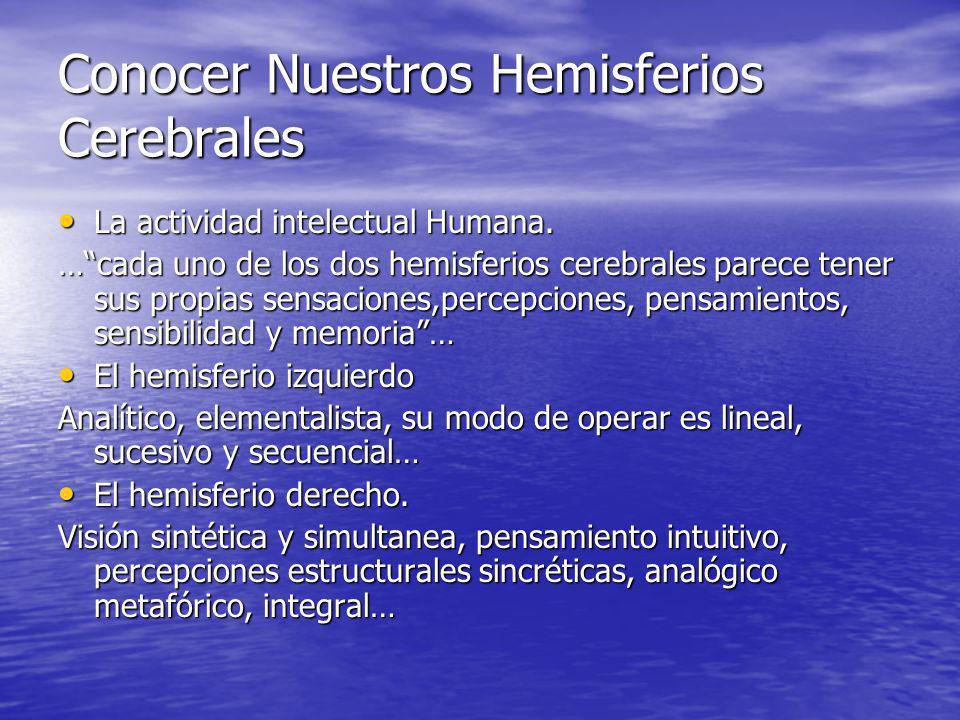 Conocer Nuestros Hemisferios Cerebrales La actividad intelectual Humana. La actividad intelectual Humana. …cada uno de los dos hemisferios cerebrales