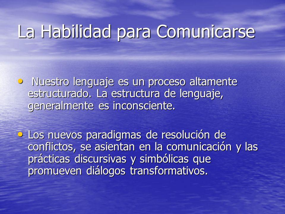 La Habilidad para Comunicarse Nuestro lenguaje es un proceso altamente estructurado. La estructura de lenguaje, generalmente es inconsciente. Nuestro