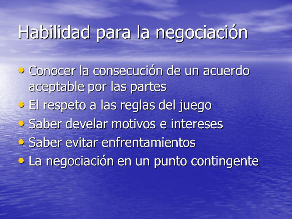Habilidad para la negociación Conocer la consecución de un acuerdo aceptable por las partes Conocer la consecución de un acuerdo aceptable por las par