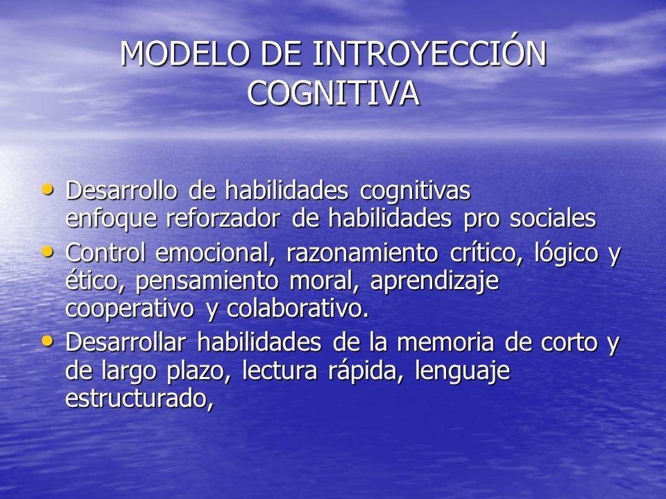 MODELO DE INTROYECCIÓN COGNITIVA Desarrollo de habilidades cognitivas enfoque reforzador de habilidades pro sociales Desarrollo de habilidades cogniti