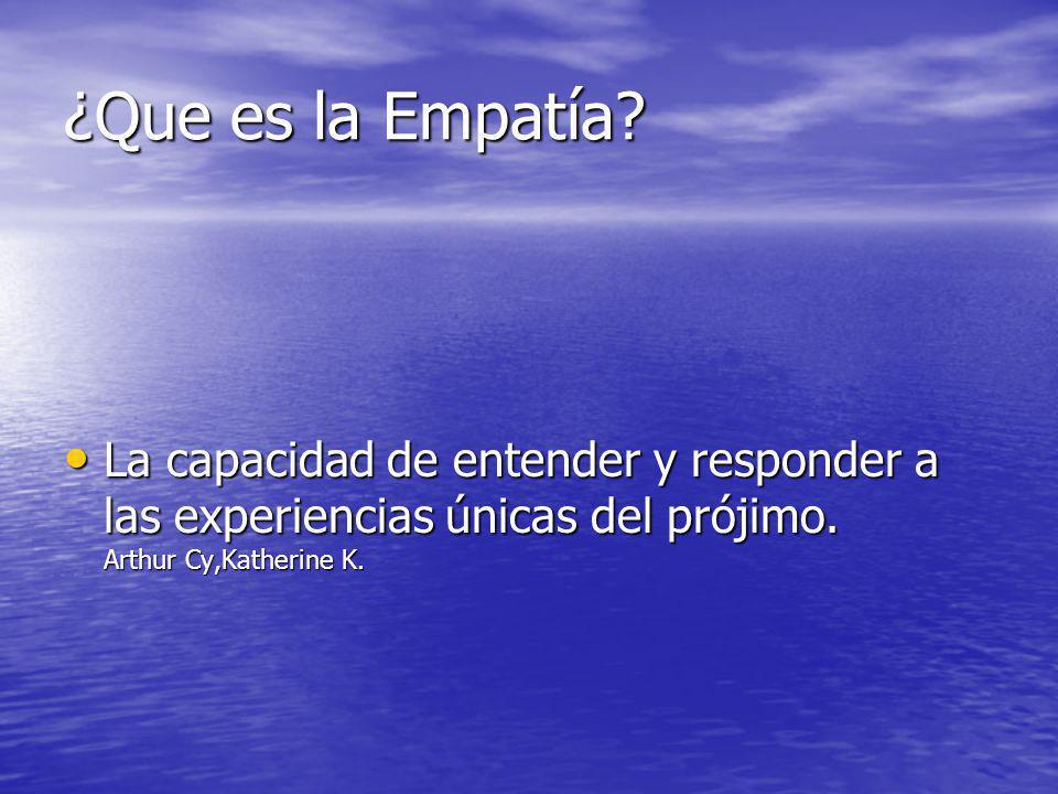 ¿Que es la Empatía? La capacidad de entender y responder a las experiencias únicas del prójimo. Arthur Cy,Katherine K. La capacidad de entender y resp