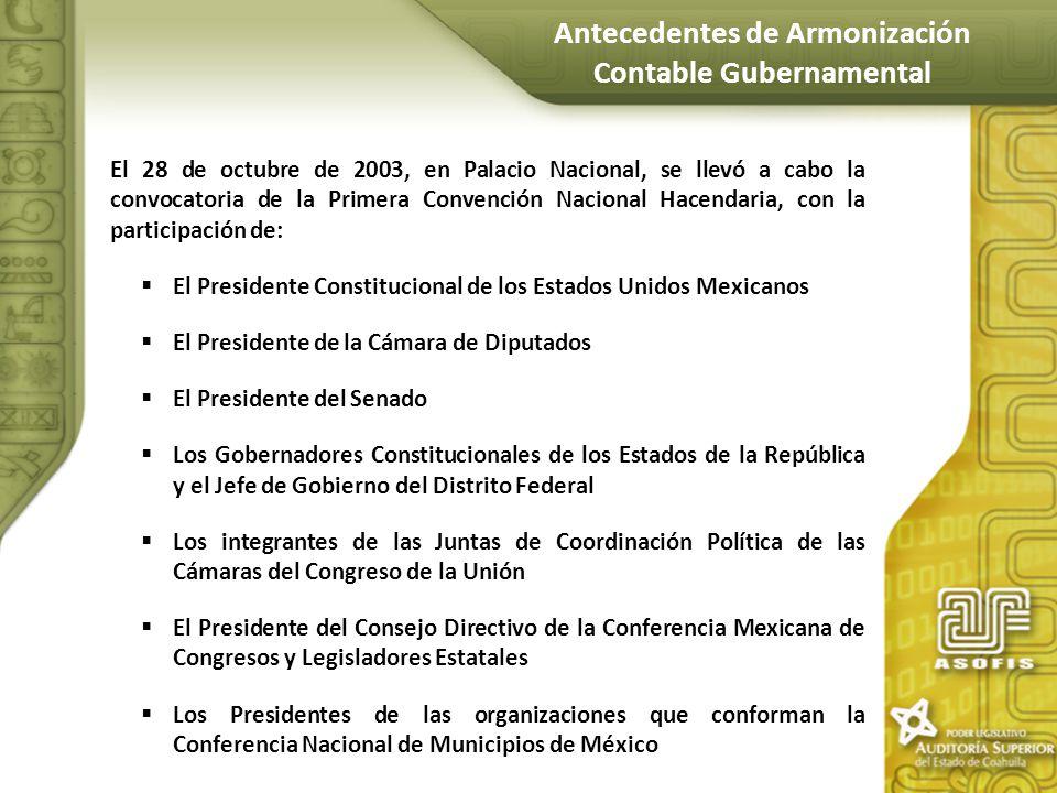 El 28 de octubre de 2003, en Palacio Nacional, se llevó a cabo la convocatoria de la Primera Convención Nacional Hacendaria, con la participación de: