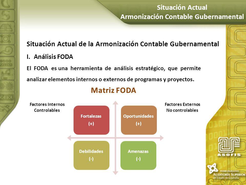 Situación Actual de la Armonización Contable Gubernamental I.Análisis FODA El FODA es una herramienta de análisis estratégico, que permite analizar el