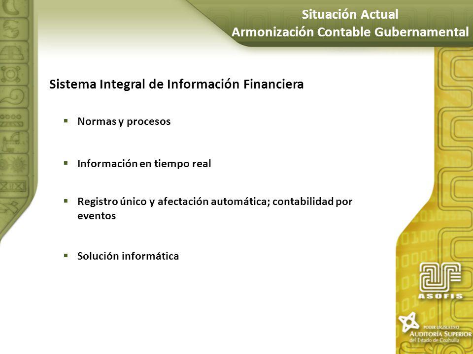 Sistema Integral de Información Financiera Normas y procesos Información en tiempo real Registro único y afectación automática; contabilidad por event
